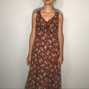 1990s floral  button front maxi dress
